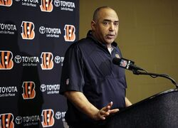 FILE - In this Jan. 4, 2014, file photo, Cincinnati Bengals head coach Marvin Lewis speaks at a news conference following an NFL wildcard playoff football game against the Indianapolis Colts in Indianapolis. The Bengals are entering what amounts to a pivotal season for the franchise, with numerous players in the final year on their contract. Their picks in the draft will be more about the future than right now. (AP Photo/AJ Mast, File)
