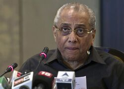 FILE - In this June 10, 2013 file photo, then Board of Control for Cricket in India (BCCI) interim president, Jagmohan Dalmiya speaks during a press conference in New Delhi, India. Dalmiya has returned as BCCI president after emerging as the only candidate Monday,March 2, 2015. India's Supreme Court earlier barred ICC Chairman Narainswamy Srinivasan from seeking another term as BCCI president while he continues to hold a stake in Indian Premier League team the Chennai Super Kings. (AP Photo/Tsering Topgyal, File)