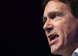 Pierre Karl Peladeau speaks to supporters in Saint-Jerome, Que., Sunday, November 30, 2014, where he officially launched his bid to become leader of the Parti Quebecois. Peladeau was among the newsmakers with notable quotes in 2014.THE CANADIAN PRESS/Graham Hughes
