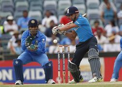 England's James Taylor plays a shot during their one day international cricket match against India in Perth, Australia, Friday, Jan. 30, 2015. (AP Photo/Theron Kirkman)