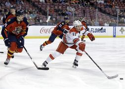 Carolina Hurricanes left wing Jeff Skinner (53) chases the puck as Florida Panthers defenseman Erik Gudbranson (44) pursues in the first period of an NHL hockey game, Wednesday, Nov. 26, 2014, in Sunrise, Fla. (AP Photo/Lynne Sladky)