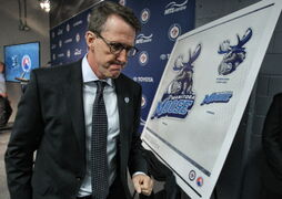 Winnipeg Jets owner Mark Chipman during the reveal of the Manitoba Moose as new name and logo for the Winnipeg Jets affiliate AHL team which is moving back to Winnipeg next season.