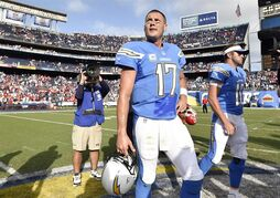 San Diego Chargers quarterback Philip Rivers (17) looks up into the stands after an NFL football game against the Kansas City Chiefs, Sunday, Oct. 19, 2014, in San Diego. (AP Photo/Denis Poroy)
