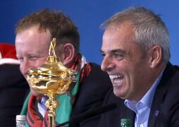 Europe team captain Paul McGinley, right, and Jamie Donaldson attend a press conference after Europe won the 2014 Ryder Cup golf tournament at Gleneagles, Scotland, Sunday, Sept. 28, 2014. (AP Photo/Scott Heppell)