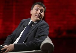 Italian Prime Minister Matteo Renzi attends at the Italian State RAI TV program