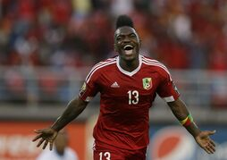 Congo's Thievy Koulossa Bifouma, celebrates his goal during their African Cup of Nations quarter final soccer match against Democratic Republic of Congo in Bata, Equatorial Guinea, Saturday, Jan. 31, 2015. (AP Photo/Themba Hadebe)