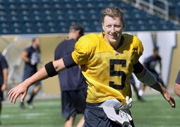 Winnipeg Blue Bombers QB Drew WIlly at practice Thursday at Investors Group Field. The Bombers are preparing for the annual Labour Day Classic against the Saskatchewan Roughriders this Sunday.