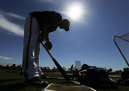 Milwaukee Brewers' Aramis Ramirez gets ready to take batting practice during a spring training baseball workout Thursday, Feb. 26, 2015, in Phoenix. (AP Photo/Morry Gash)