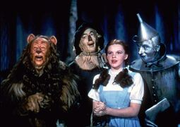 FILE - In this 1939 file photo originally released by Warner Bros., from left, Bert Lahr as the Cowardly Lion, Ray Bolger as the Scarecrow, Judy Garland as Dorothy, and Jack Haley as the Tin Woodman, are shown in a scene from