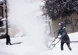 People clear snow from their sidewalks and streets after a large amount of snow fell in Toronto on Monday, February 2, 2015. Looking to break out of winter's icy clutches? The Weather Network has some bad news -- you're stuck in a frigid embrace for a while longer. THE CANADIAN PRESS/Nathan Denette