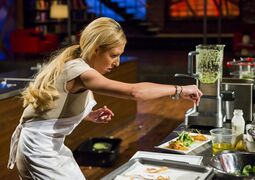 Kaila Klassen prepares her dish in an episode of MasterChef Canada in this undated handout photo. The latest two home cooks ousted from the penultimate episode of