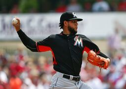 Miami Marlins starting pitcher Henderson Alvarez (37) works in the first inning of an exhibition spring training baseball game against the St. Louis Cardinals Thursday, March 26, 2015, in Jupiter, Fla. (AP Photo/John Bazemore)