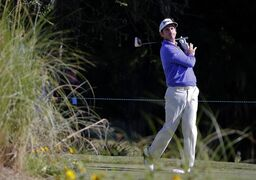 Gonzalo Fdez-Castano, of Spain, reacts to his shot off the ninth tee during the first round of the McGladrey Classic golf tournament on Thursday, Oct. 23, 2014, in St. Simons Island, Ga. (AP Photo/Stephen B. Morton)