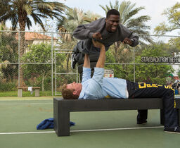 Warner Will Ferrell raises his Hart-rate: Millionaire James King (Ferrell) prepares for prison by bench-presssing Darnell Lewis (Kevin Hart).