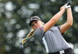 Brooke Henderson, of Canada watches her tee shot on the 17th hole, during second round play at the Canadian Pacific Women's Open golf tournament in London, Ont., on Friday, Aug. 22, 2014. THE CANADIAN PRESS/Dave Chidley