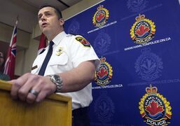 Hamilton Police Supt. Dan Kinsella speaks during a press conference on the Tim Bosma case in Hamilton, Ont.,on Wednesday, May 22, 2013. Police say a second man has been arrested and will face a charge of first-degree murder in the death of Bosma.THE CANADIAN PRESS/Nathan Denette