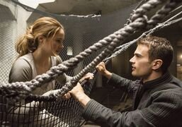 This image released by Summit Entertainment shows Shailene Woodley, left, and Theo James in a scene from