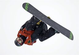 Taylor Gold, of the United States, competes in a World Cup halfpipe snowboard event, Sunday, March 1, 2015, in Park City, Utah. Gold came in second place. (AP Photo/Rick Bowmer)