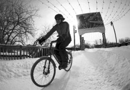 The Ice Bike winter bike race at The Forks last year co-existed with cars and pedestrians.