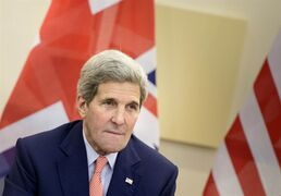 US Secretary of State, John Kerry, waits for the start of a trilateral meeting at an hotel in Lausanne Saturday, March 28, 2015. Negotiations over Iran's nuclear program picked up pace on Saturday with the French and German foreign ministers joining U.S. Secretary of State John Kerry in talks with Tehran's top diplomat ahead of an end-of-March deadline for a preliminary deal. (AP Photo/Brendan Smialowski, Pool)