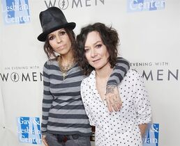 FILE - In this March 15, 2014 file photo, Linda Perry, left, and Sara Gilbert arrive at L.A. Gay and Lesbian Center