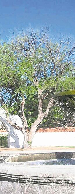A waterfall and a stone archway present an attractive entrance to Tubac Golf Resort and Spa.
