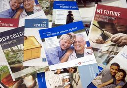 Brochures offering various retirement savings options are pictured February 3, 2012 in Montreal. Ottawa is being urged to reconsider enhancing RRSPs as a way of getting more Canadians to save for retirement. THE CANADIAN PRESS/Ryan Remiorz