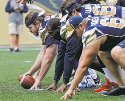 Steve Morley (left, snapping ball) joined the Bombers in 2009 but apparently became expendable with the off-season acquisitions by the Blue and Gold.