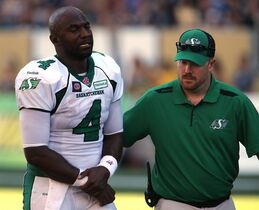Saskatchewan Roughriders' Darian Durant (4) leaves the field after getting hurt during a play against the Winnipeg Blue Bombers' during second half CFL football action at Investors Group Field in Winnipeg, Sunday, September 7, 2014. THE CANADIAN PRESS/Trevor Hagan