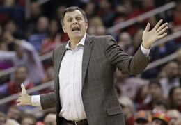 Houston Rockets head coach Kevin McHale questions a foul call in the first half of an NBA basketball game against the Portland Trail Blazers Monday, Dec. 22, 2014, in Houston. (AP Photo/Pat Sullivan)