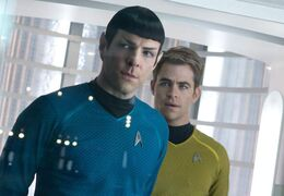 Chris Pine (right) as Kirk with Zacahry Quinto's Spock in Star Trek: Into Darkness.