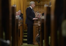 Canadian Prime Minister Stephen Harper rises in the House of Commons on Parliament Hill in Ottawa, Tuesday March 24, 2015. THE CANADIAN PRESS/Adrian Wyld