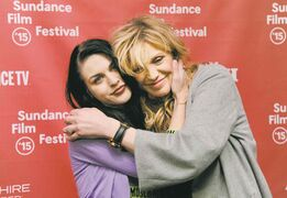 Frances Bean Cobain, daughter of Kurt Cobain, embraces her mother and Cobain's widow, Courtney Love, at the Sundance Film Festival.