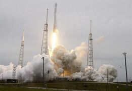 A rocket carrying the SpaceX Dragon ship lifts off from launch complex 40 at the Cape Canaveral Air Force Station in Cape Canaveral, Fla. on Friday, April 18, 2014. The mission will deliver research equipment, food and other supplies to the International Space Station. (AP Photo/John Raoux)