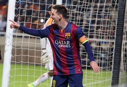 Barcelona's Lionel Messi celebrates after scoring against Apoel during the Champions League Group F soccer match between Apoel and Barcelona , at GSP stadium, in Nicosia, Cyprus, Tuesday, Nov. 25, 2014. (AP Photo/ Philippos Christou)
