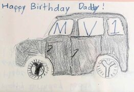 This crayon drawing actually helped inspire the final design of the MV-1.