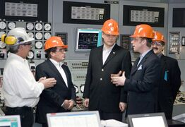 Supervisor of the Boundary Dam plant Bill Mann, left to right, Manager of Boundary Dam Mike Zeleny, Prime Minister Stephen Harper, Saskatchewan Premier Brad Wall and MP Ed Komarnicki tour the SaskPower Boundary Dam Power Station on Tuesday, March 25, 2008 in Estevan, Sask. THE CANADIAN PRESS/Troy Fleece