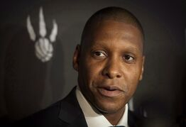 Toronto Raptors GM Masai Ujiri was at it again. The Toronto Raptors' GM used an expletive when addressing fans Saturday about Washington forward Paul Pierce prior to the Raptors' playoff opener. Ujiri speaks to reporters at the team's media day at the Air Canada Centre in Toronto on Monday, September 29, 2014. THE CANADIAN PRESS/Darren Calabrese