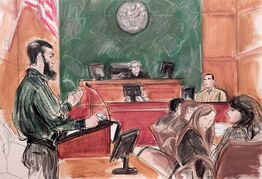 FILE - In this Feb. 18, 2015, courtroom file sketch, Abid Naseer, left, accused of being an al-Qaida operative, questions Najibulla Zazi, center right, a cooperating government witness, as Assistant U.S. Attorney Zainab Ahmad, far right, observes Naseer, and Judge Raymond Dearie listens from the bench in federal court in the Brooklyn borough of New York, where Naseer is acting as as his own attorney. During closing arguments Monday, Feb. 23, Nasser denied being part of a terror conspiracy to attack targets in America and Europe. In her closing argument, Ahmed told jurors that the arrests of Naseer and other members of a terror cell in Manchester, England in 2009 averted mass murder there. The government alleges Naseer had received bomb-making instruction in Pakistan in 2008. (AP Photo/Elizabeth Williams, File)