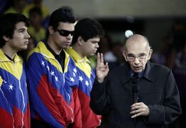 """FILE - In this Feb. 16, 2012 file photo, Jose Antonio Abreu, founder of Venezuela's network of youth orchestras known as El Sistema, or The System, attends an event at the Teresa Carreno Theater in Caracas, Venezuela. A new book about the music program portrays it as a """"model of tyranny"""" where brutal, marathon practice sessions mirror the apparently unlimited power and top-down style of its magnetic founder. (AP Photo/Ariana Cubillos, File)"""