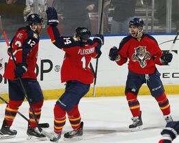 Florida Panthers forward Jimmy Hayes (12) is congratulated by forward Tomas Fleischmann (14) and forward Vincent Trocheck (21) after scoring the game-winning goal against the Ottawa Senators during the third period of an NHL hockey game, Friday, Nov. 28, 2014, in Sunrise, Fla. The Panthers defeated the Senators 3-2. (AP Photo/Joel Auerbach)
