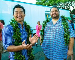 This Tuesday, July 8, 2014 photo provided by CBS shows Daniel Dae Kim, left, and Jorge Garcia, as