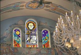 Stained-glass windows at Holy Eucharist Ukrainian Catholic Church honour Rev. Omelian Kovch, whose efforts saved hundreds of Jews during the Second World War.