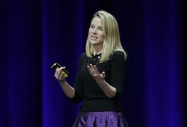 This Feb. 19, 2015 photo, Yahoo President and CEO Marissa Mayer delivers the keynote address at the first-ever Yahoo Mobile Developer Conference in San Francisco. Yahoo and Microsoft will keep working together on search, but Yahoo is getting more control over the how its search page looks and works. An agreement announced Thursday, April 16, 2015 extends a search partnership that Yahoo Inc. and Microsoft Corp. forged in 2009 while they were being led by different CEOs. Yahoo had an option of ending the relationship. The two are trying to chip away at Google's dominance of Internet search. (AP Photo/Eric Risberg)