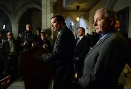 Minister of Defence Jason Kenney (centre), Minister of Foreign Affairs Rob Nicholson (right), and Minister of International Development Christian Paradis (left) hold a press conference on aid to Nepal in the foyer of the House of Commons on Parliament Hill in Ottawa on Monday, April 27, 2015. THE CANADIAN PRESS/Sean Kilpatrick