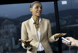 Marina Silva, presidential candidate of the Brazilian Socialist Party, speaks during an interview with AP in Rio de Janeiro, Brazil, Wednesday, Sept. 17, 2014. Silva was thrust into the Socialist Party's presidential nomination when its candidate of choice, Eduardo Campos, died in a plane crash last month. Since then, her anti-establishment profile has propelled her to a neck-and-neck race with actual Brazilian president Dilma Rousseff. (AP Photo/Silvia Izquierdo)