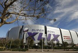 The Super Bowl XLIX logo is displayed on the University of Phoenix Stadium before the Pro Bowl Sunday, Jan. 25, 2015, in Glendale, Ariz. The venue will also host Super Bowl XLIX between the New England Patriots and the Seattle Seahawks on Sunday, Feb. 1, 2015. (AP Photo/Charlie Riedel)