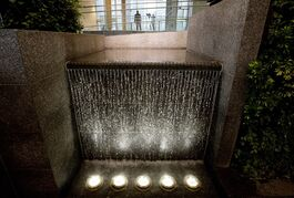 A waterfall in the atrium of the newly restored Federal Building in Edmonton Alta, on Friday January 30, 2015. The building is the site of former premier Alison Redford's cancelled penthouse apartment project, dubbed the sky palace, that was central to her resignation. THE CANADIAN PRESS/Jason Franson