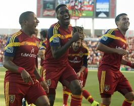 Real Salt Lake forward Jou Plata, left, does a dance along with Real Salt Lake forward Olmes Garcia, second from left, and Real Salt Lake midfielder Javier Morales (11), as they celebrate Plata's first half goal, in MLS action against the New York Red Bulls at Rio Tinto Stadium, in Salt Lake City, Wednesday, July 30, 2014. (AP Photo/The Salt Lake Tribune, ) DESERET NEWS OUT; LOCAL TELEVISION OUT; MAGS OUT