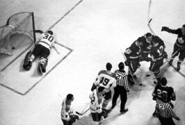Montreal Canadiens goaltender Gump Worsley lies slumped on the ice as Toronto Maple Leafs celebrate the winning goal of the 1967 Stanley Cup game May 2, 1967 in Toronto. The goal that lifted the Leafs to its last NHL championship resulted from a lucky bounce for Toronto. But Leafs fans will take it.
